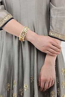 Gold Finish Kundan Bracelet by Just Shraddha