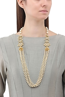 Gold Finish Kundan and Pearl String Necklace
