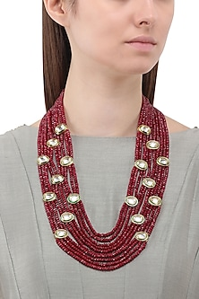 Gold Finish Polki and Maroon Beads Necklace