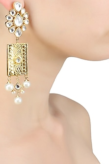 Gold finish long flower studded hanging earrings