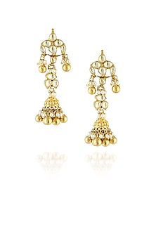 Gold finish kundan work gold beads flower earrings by Just Shraddha