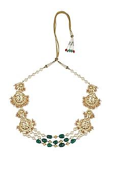 Gold finish chandbali pearl necklace by Just Shraddha