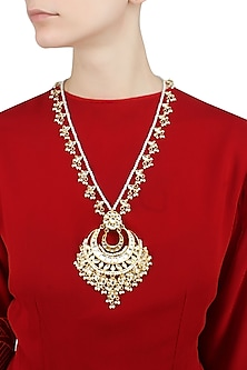 Gold finish chandbali pearl one liner string necklace by Just Shraddha