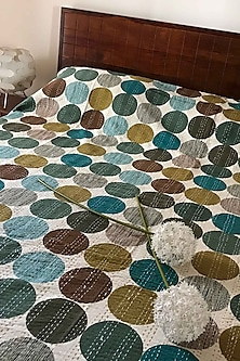 Blues and Greens Hand Embroidered Bedcover by Karmadori