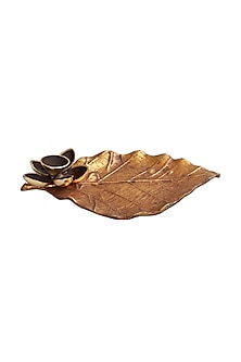 Brown Metal & Gold Leaf Dhoop Stand by Karo