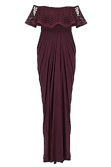 Maroon Ruffled Laser Cutwork Drape Saree