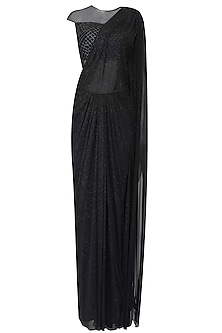 Black Shimmer and Cutdana Embroidered Drape Saree