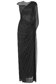 Black Shimmer and Cutdana Embroidered Pleated Drape Saree