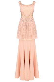 Pink Cutdana Embellished Floral Work Peplum Gown
