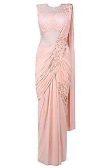 Pink 3D Floral Motifs and Cutdana Embellished Drape Saree