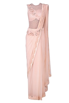 Pink 3D Floral Motifs and Alser Cutwork Drape Saree