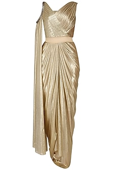 Gold Shimmer Drape Saree