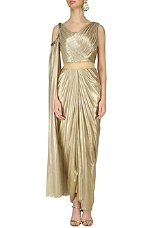 Gold Shimmer Drape Saree by Kamaali Couture
