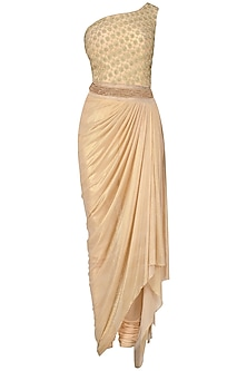 Pink Jaal Embroidered One Shoulder Drape Saree