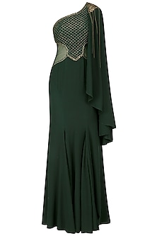 Green Jaal Embroidered One Side Cape Gown