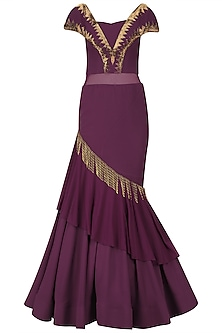 Purple Cutdana Embroidered Off Shoulder Gown by Kamaali Couture