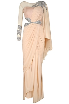 Pink and Silver Embroidered Saree Gown