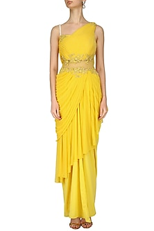 Yellow Floral Work Frill Saree by Kamaali Couture