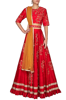 Cherry Red Embroidered Lehenga Set by Kazmi India