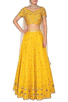 Tuscan Sun Yellow Embroidered Lehenga Set by Kazmi India