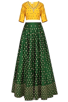 Emerald Green Embroidered Lehenga Set by Kazmi India