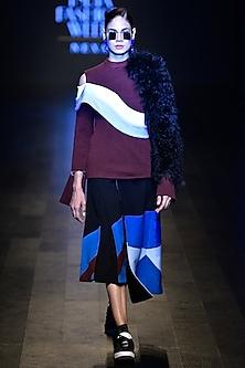 Maroon and black drop shoulder faux fur rib top by Kanika Goyal