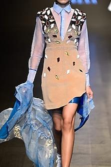 Camel color V neck embellished dress by Kanika Goyal