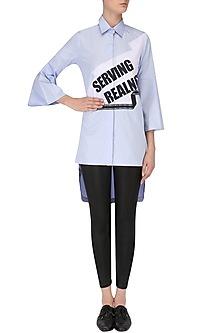 Powder Blue Serving Realness Shirt by Kanika Goyal
