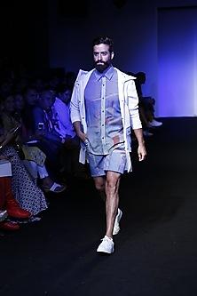 Blue gliched score printed shirt by Kanika Goyal