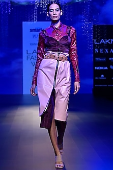 Pink Leather High Waisted Skirt by Kanika Goyal