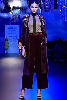 Maroon Velour Pants by Kanika Goyal