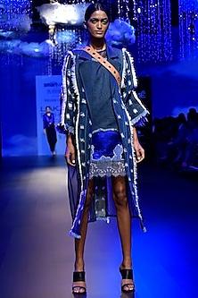 Blue Denim Long Jacket by Kanika Goyal