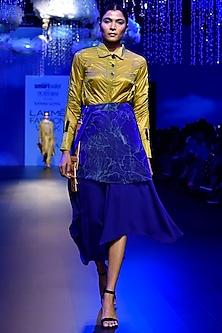 Electric Blue Printed Skirt by Kanika Goyal