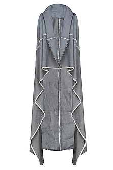 Grey denim sleeveless waterfall shrug