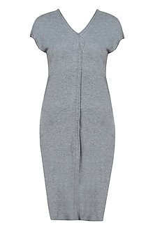Grey jersey asymmetric sleeveless long top