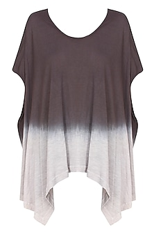 Brown and ecru tye and dye asymmetric top