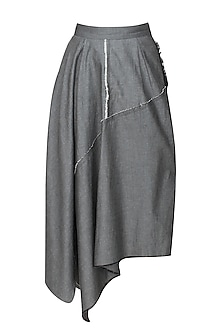 Grey denim asymmetric waterfall skirt
