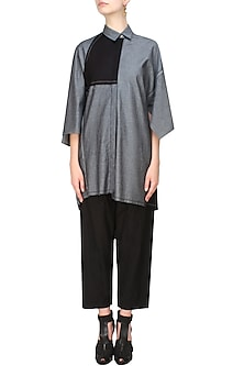 Grey denim button down oversized shirt by Kapda By Urvashi Kaur