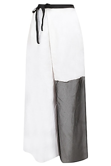 Off white mesh panelled culottes by Kapda By Urvashi Kaur