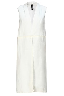 Cream linen khadi sleeveless long jacket
