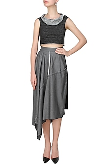 Black and grey woven jersey cowl neck crop top by Kapda By Urvashi Kaur