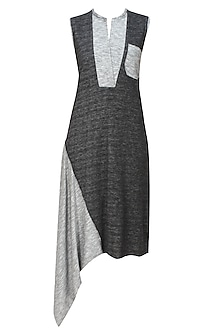 Black and grey woven jersey asymmetric dress