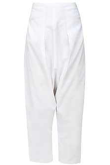 White cotton jersey trouser pants