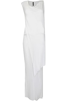 Ecru overlayered sleeveless long top