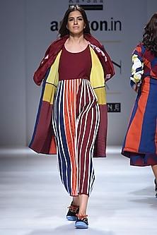 Maroon Pleated Full Length Dress by Ka-Sha