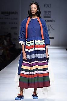 Blue Applique Patch Striped Dress by Ka-Sha