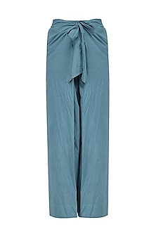 Grey and Blue Elasticated Flared Pants