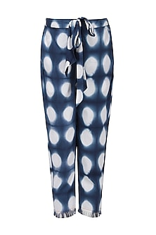 Blue and White Clamp Dyed Print Pants by Ka-Sha
