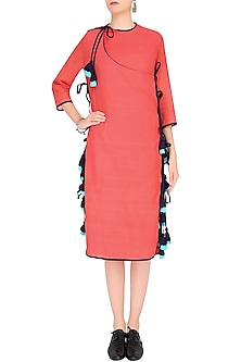 Pink Orange Tassle Tie Ups Overlap Style Tunic by Ka-Sha