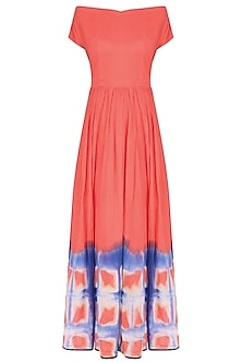 Pink Orange Clamp Dip Dyed Long Dress by Ka-Sha